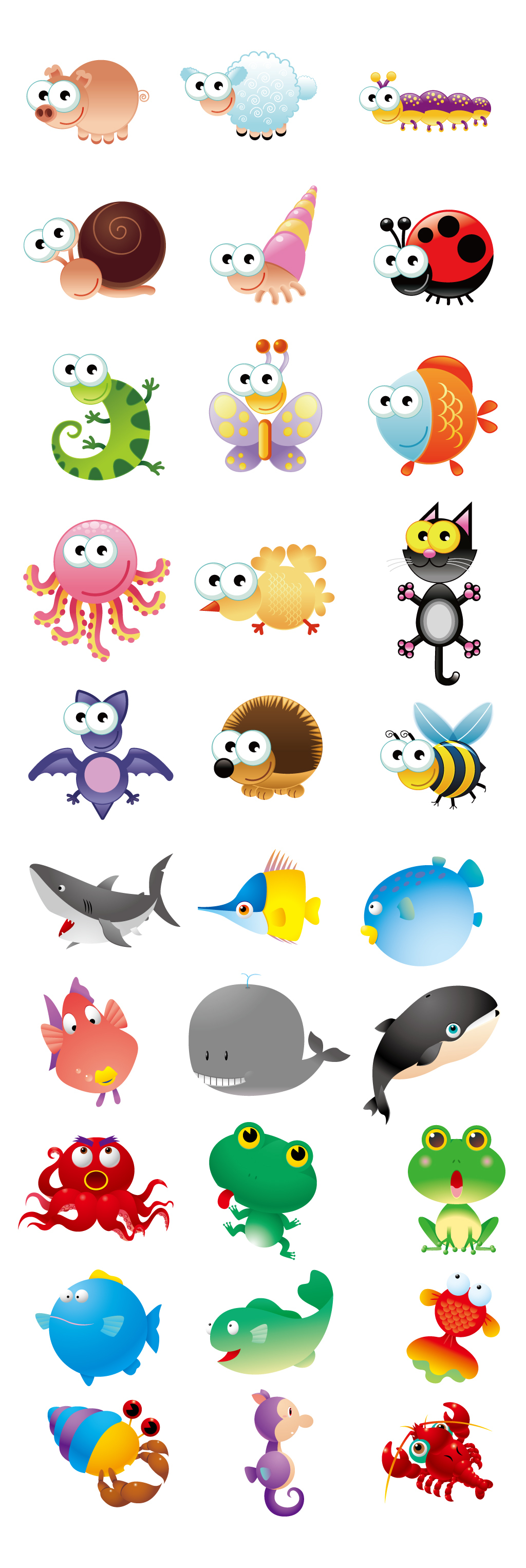 原创设计可爱小动物创意手绘卡通动物集合矢量素材