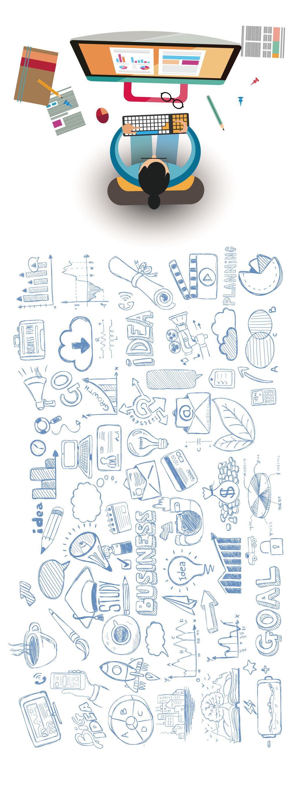 信息图表手绘稿科技素材