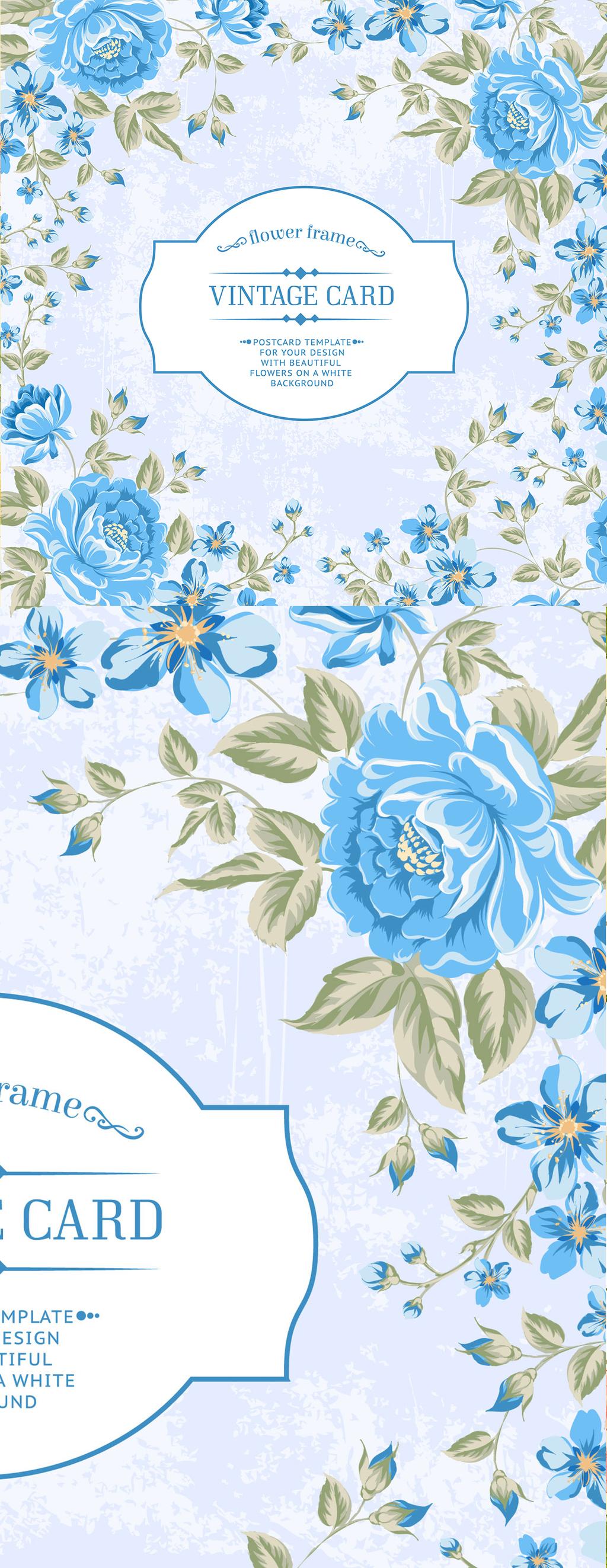 原创设计唯美手绘蓝色鲜花边框婚礼请柬矢量素材素材是用户qqaa