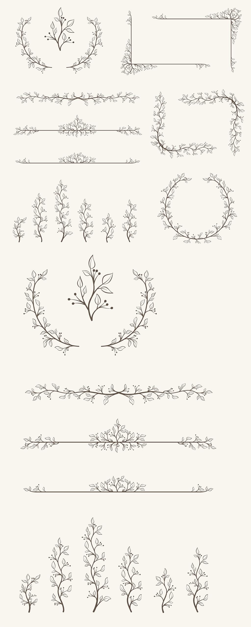多款黑色手绘枝条柳条花边边框矢量素材1