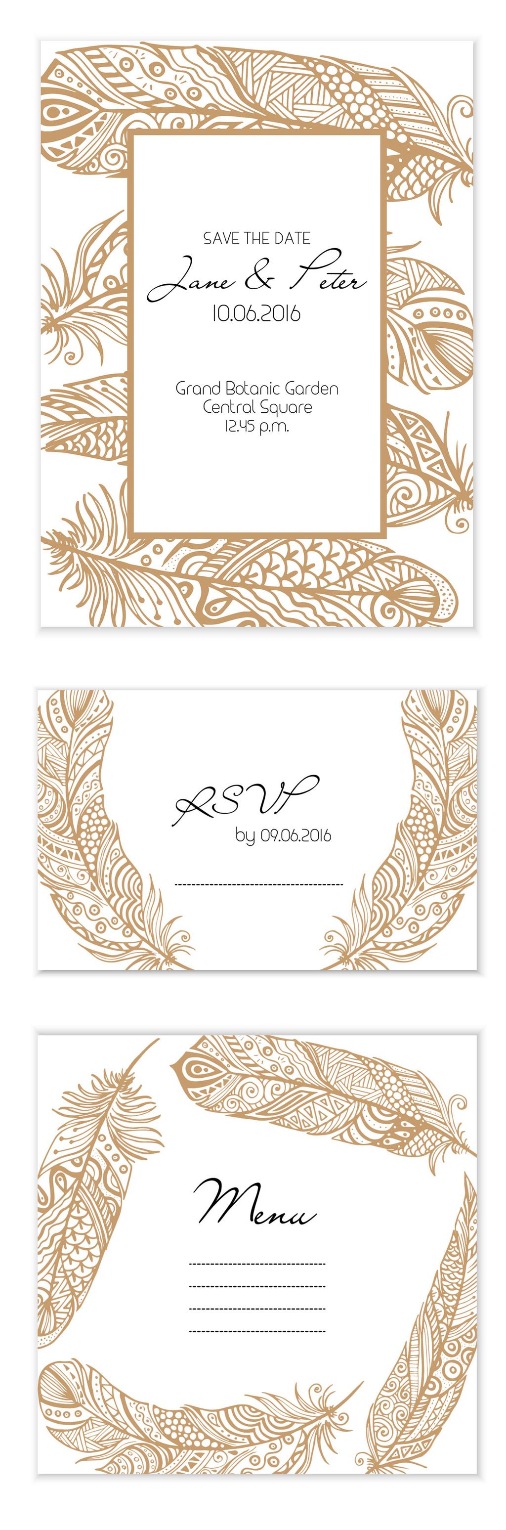 咖啡色手绘花纹边框请柬贺卡矢量素材