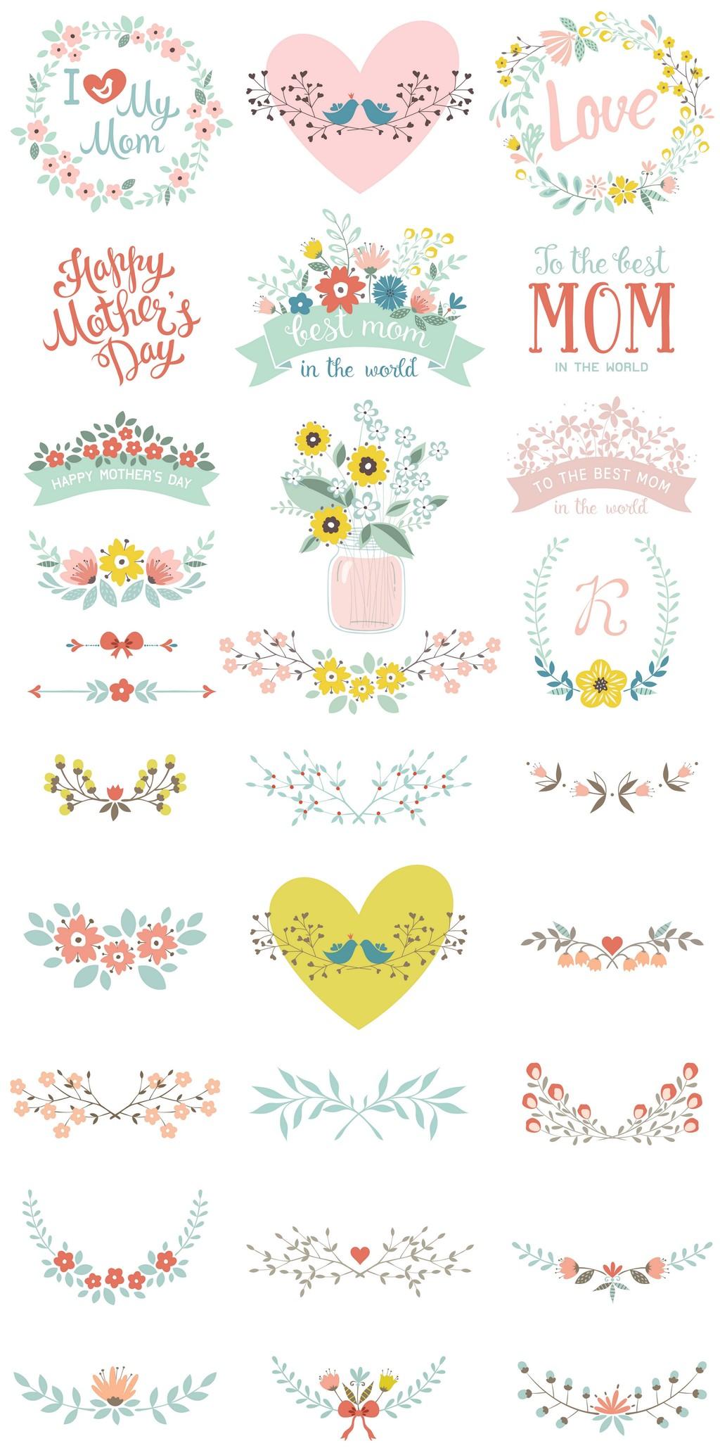 logo设计素材唯美花卉花环手绘花朵
