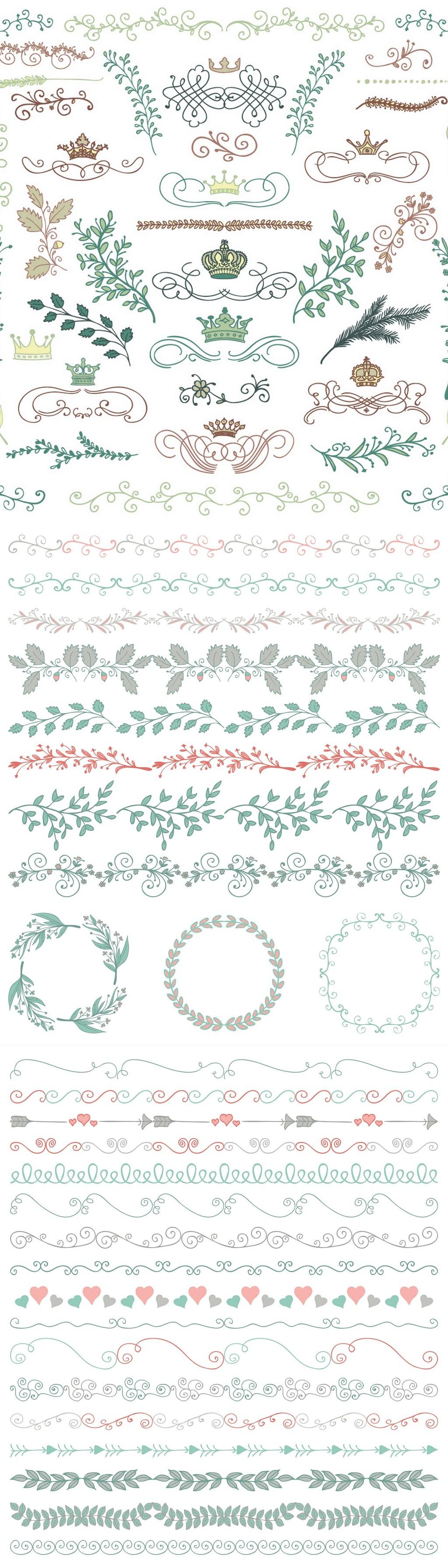 唯美水彩手绘花卉花环手绘花朵矢量素材