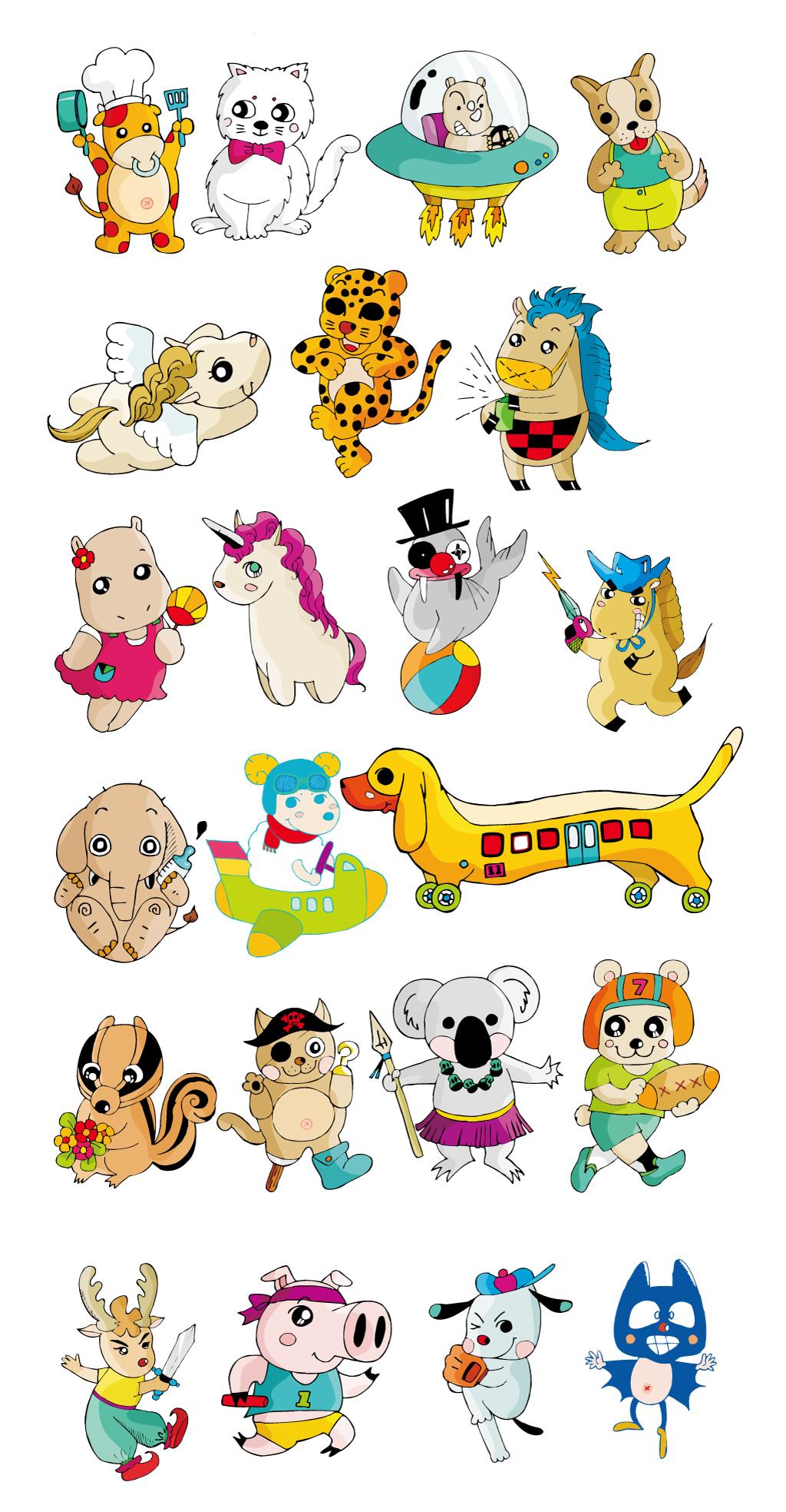创意手绘卡通小动物集合猫狗老虎猪