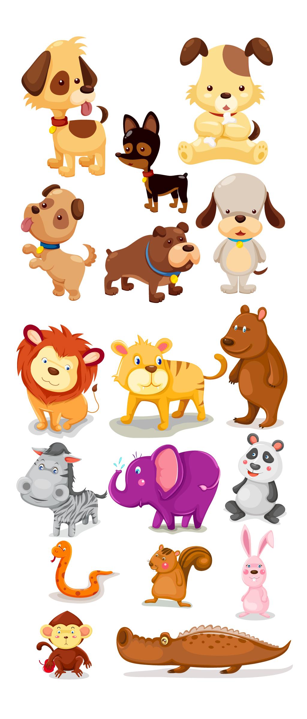 手绘小动物集合陆地动物效果小狗狮子蛇图片