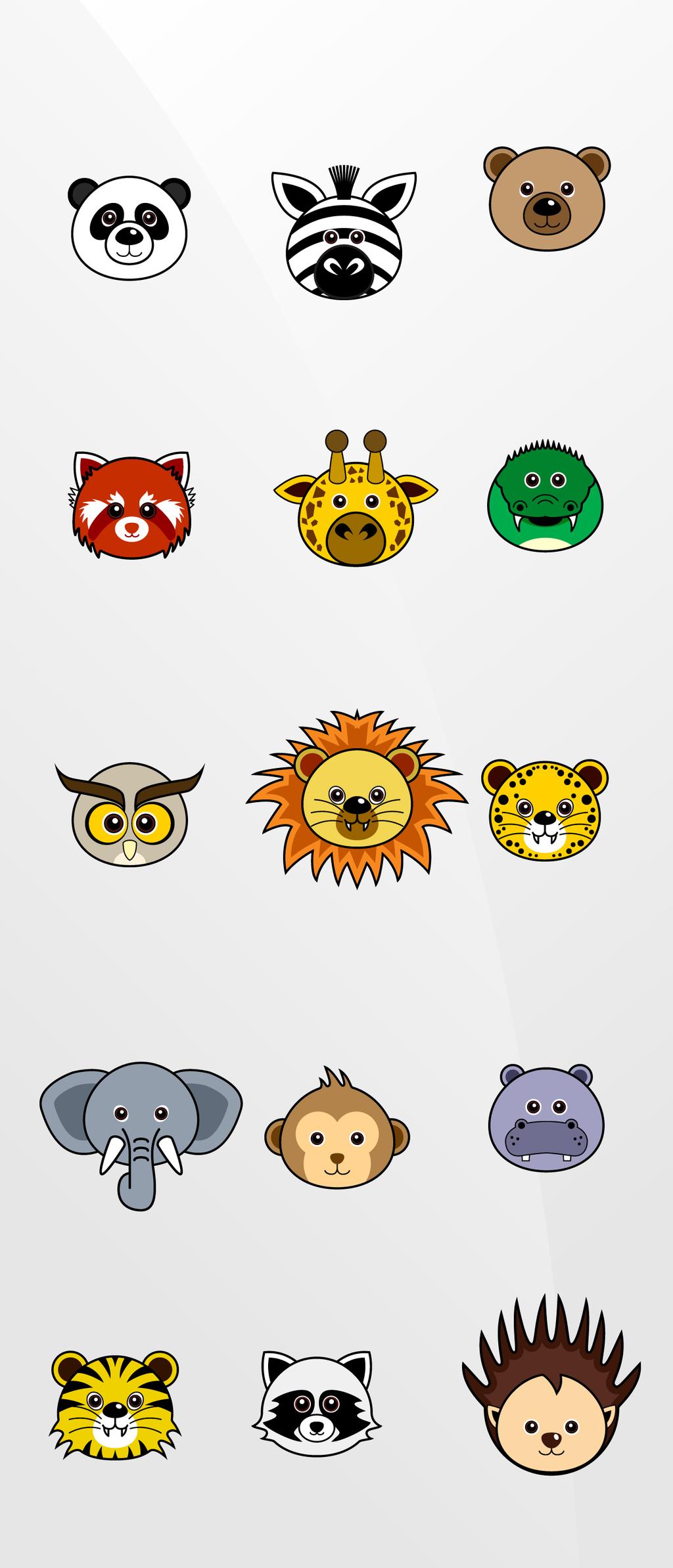 设计元素 自然素材 动物 > 手绘卡通小动物头像猴子熊猫刺猬矢量素材