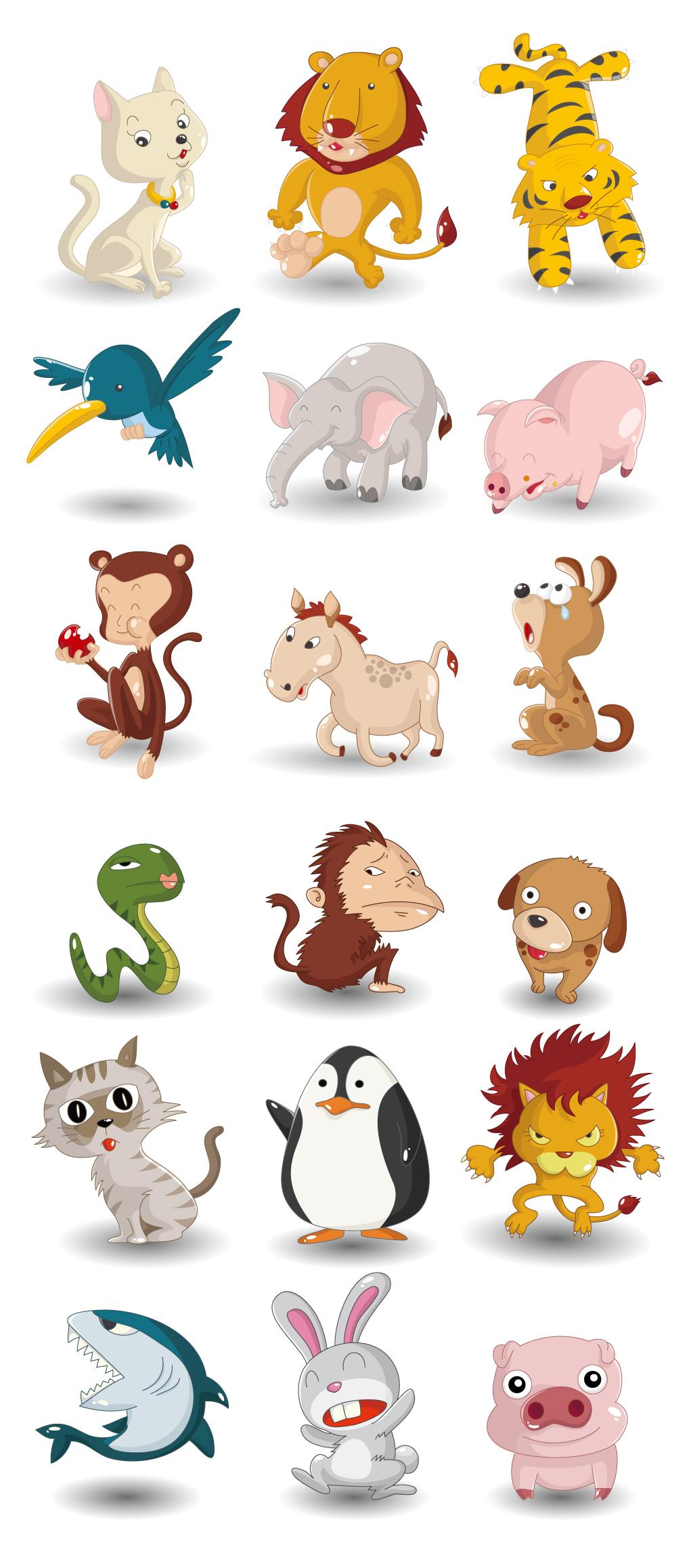 创意手绘卡通q版小动物陆地动物大象猴子