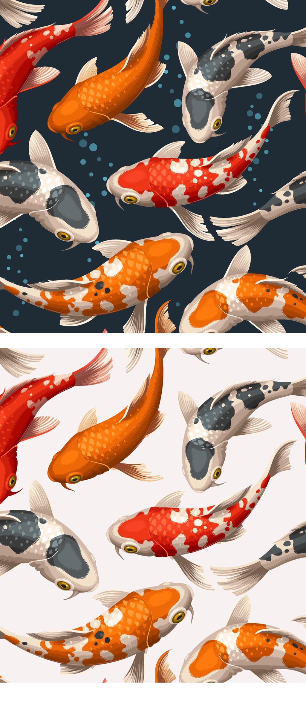 立体3d锦鲤鱼矢量素材插画