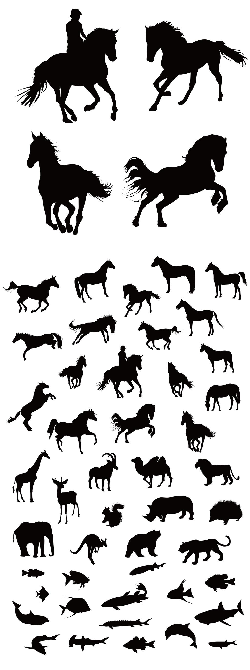 2017黑白动物剪影奔马矢量素材