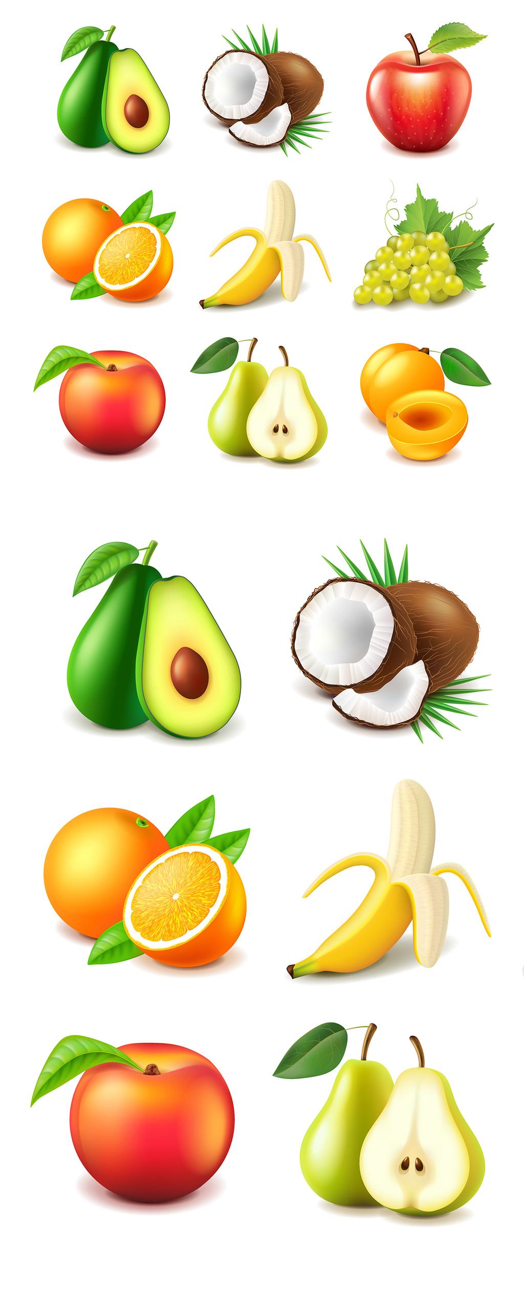 设计元素 自然素材 动物 > 立体香蕉红苹果水果矢量素材   图片编号