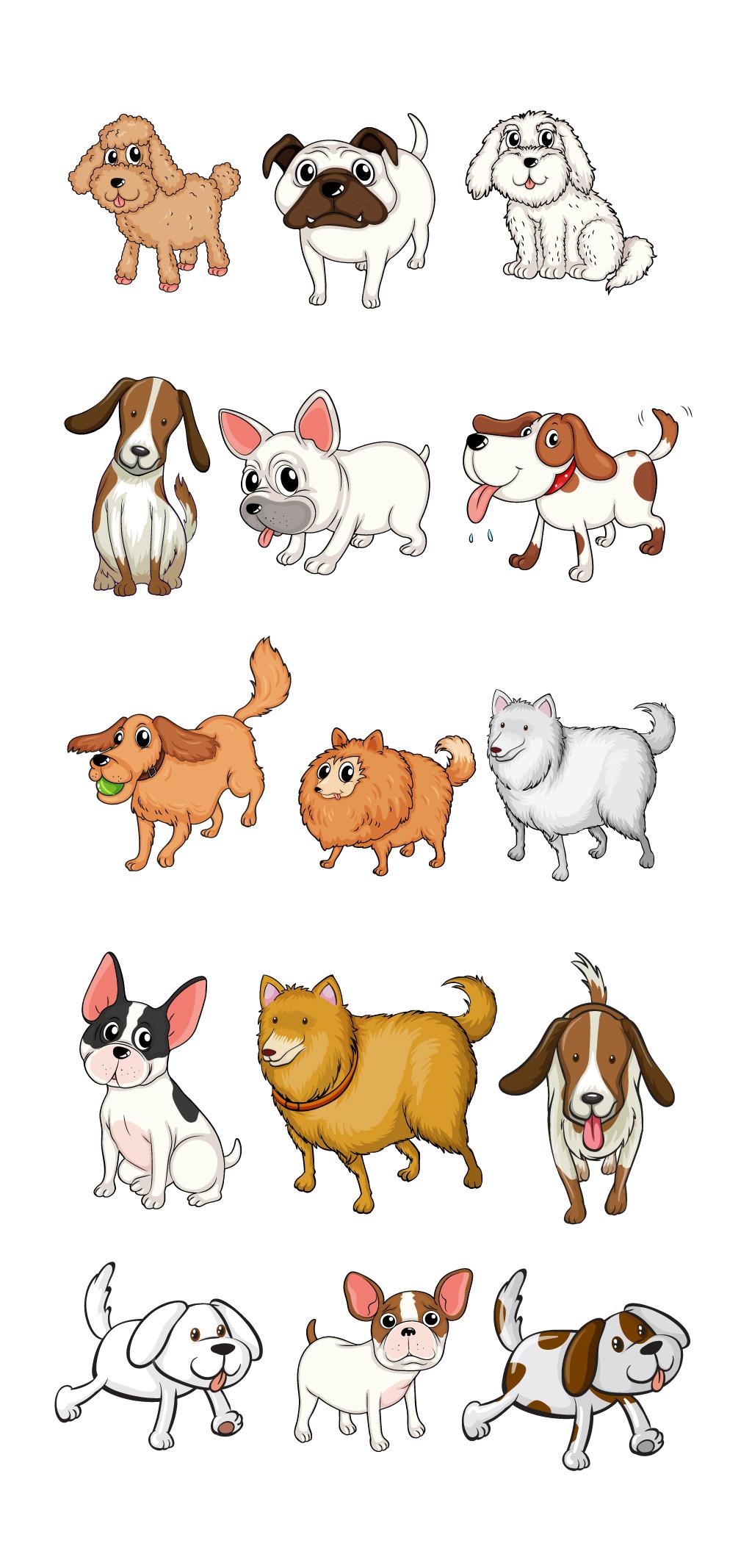 可爱生肖创意插画手绘小狗元素卡通狗图片素材_可爱.