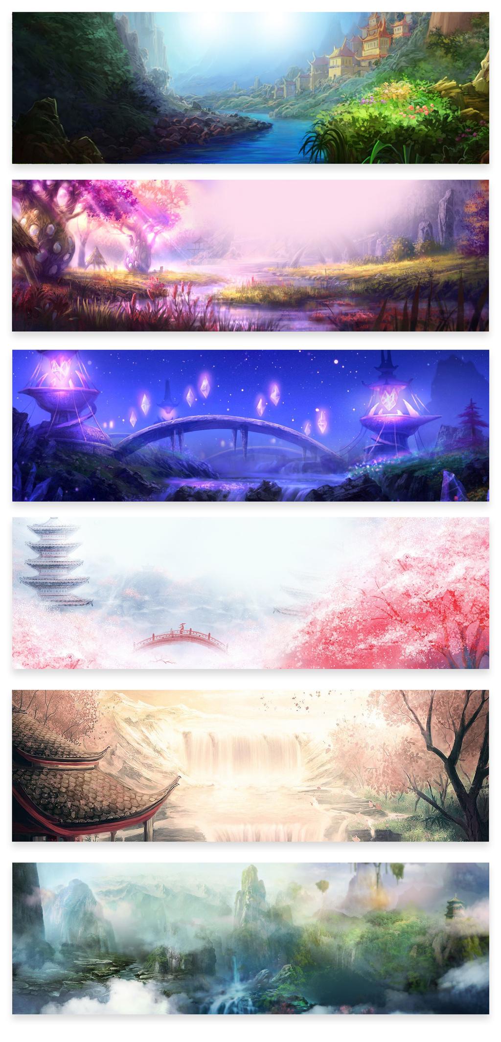 中秋节中国风手绘秋季banner海报背景