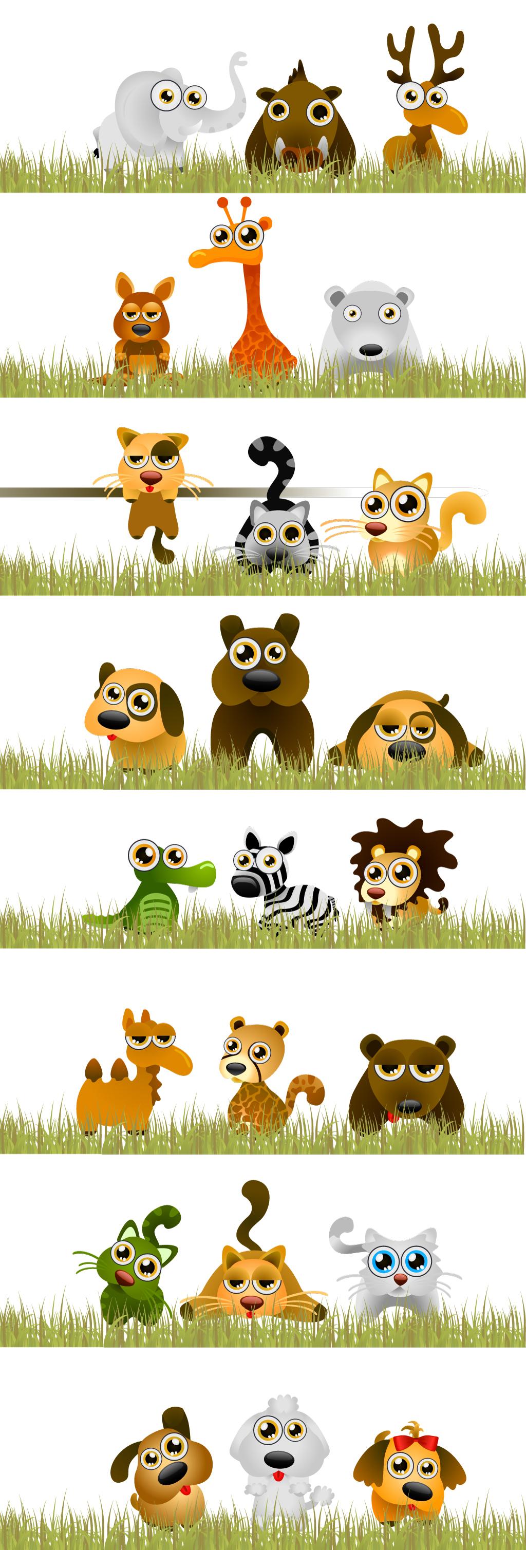 创意手绘卡通动物集合矢量素材草地大象