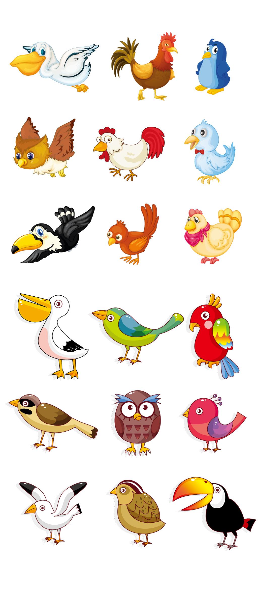 创意手绘卡通小动物集合鸟类啄木鸟小.图片设计素材