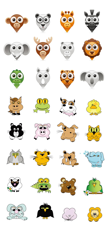 创意手绘卡通小动物头像集合q版插画