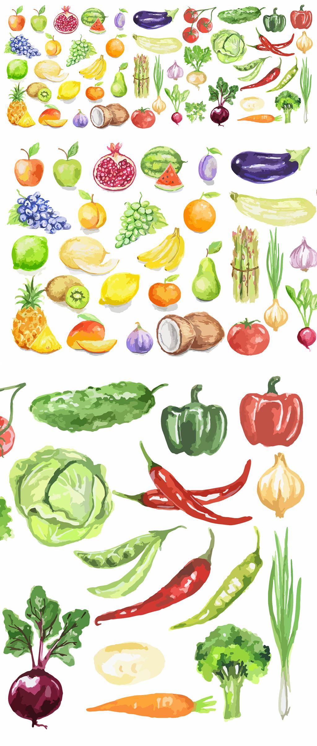 原创设计水彩晕染手绘水果蔬菜矢