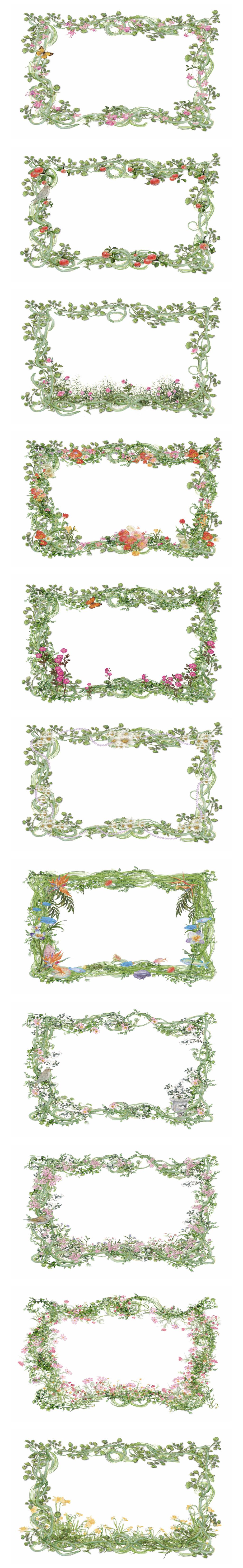 粉色手绘花                                    玫瑰花环
