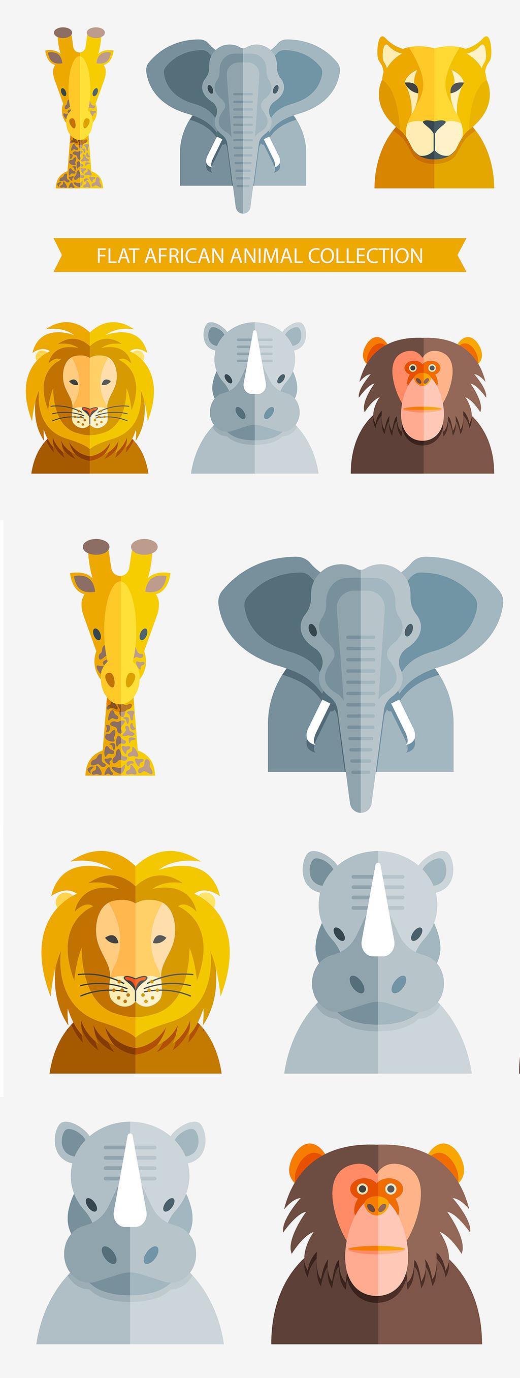 扁平化卡通非洲动物头像矢量素材