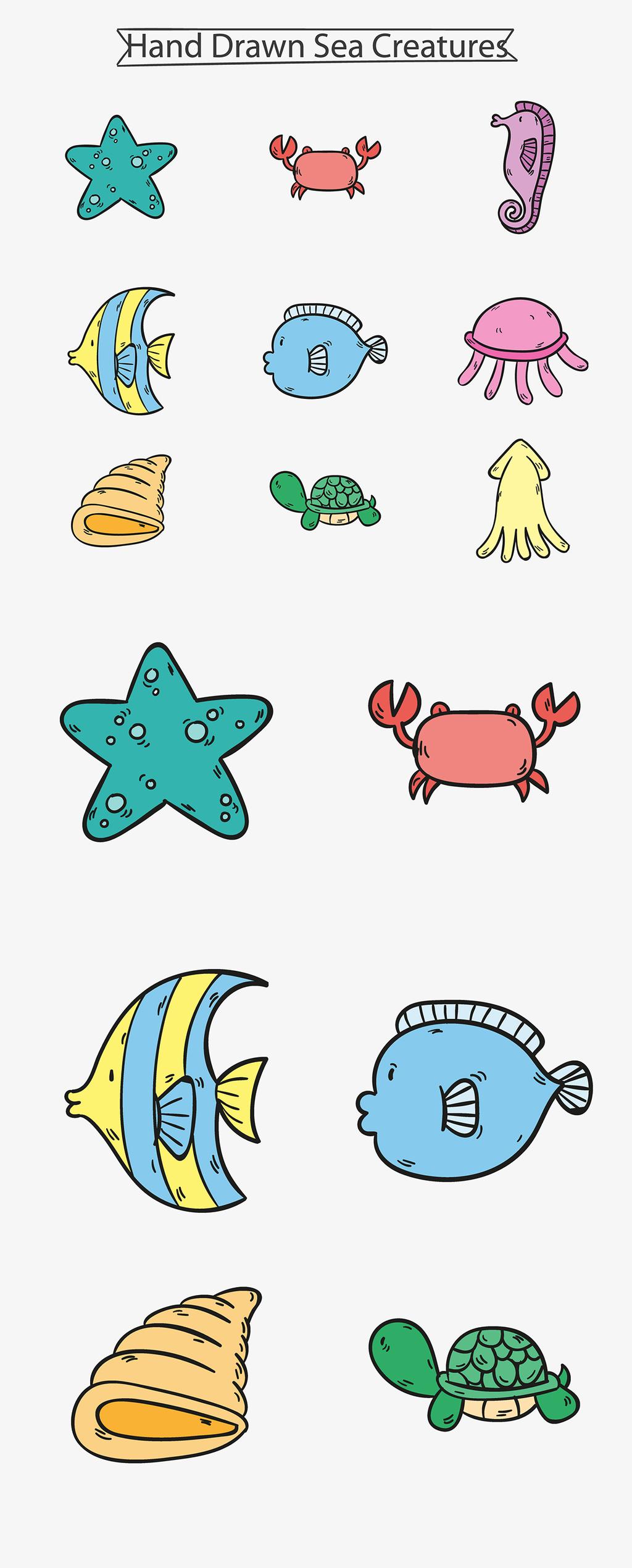 线性彩绘海洋动物矢量图标素材