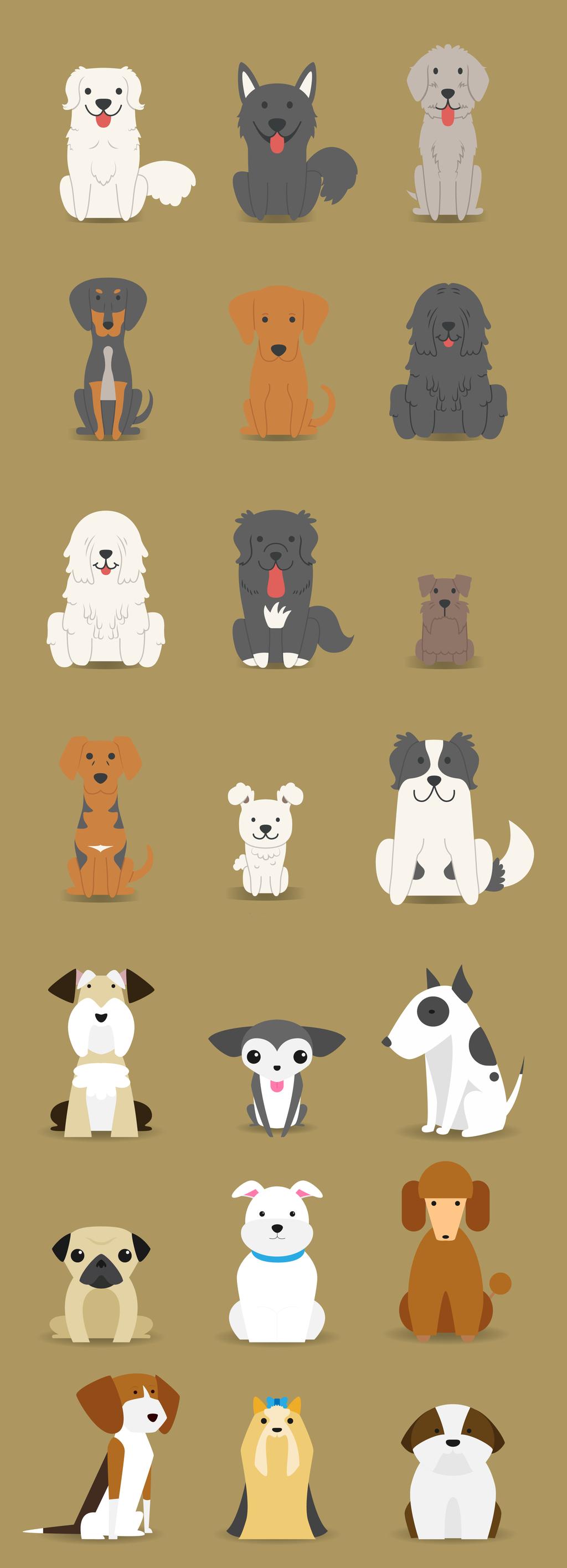动画动物黄色背景卡通手绘小狗斑点狗边牧