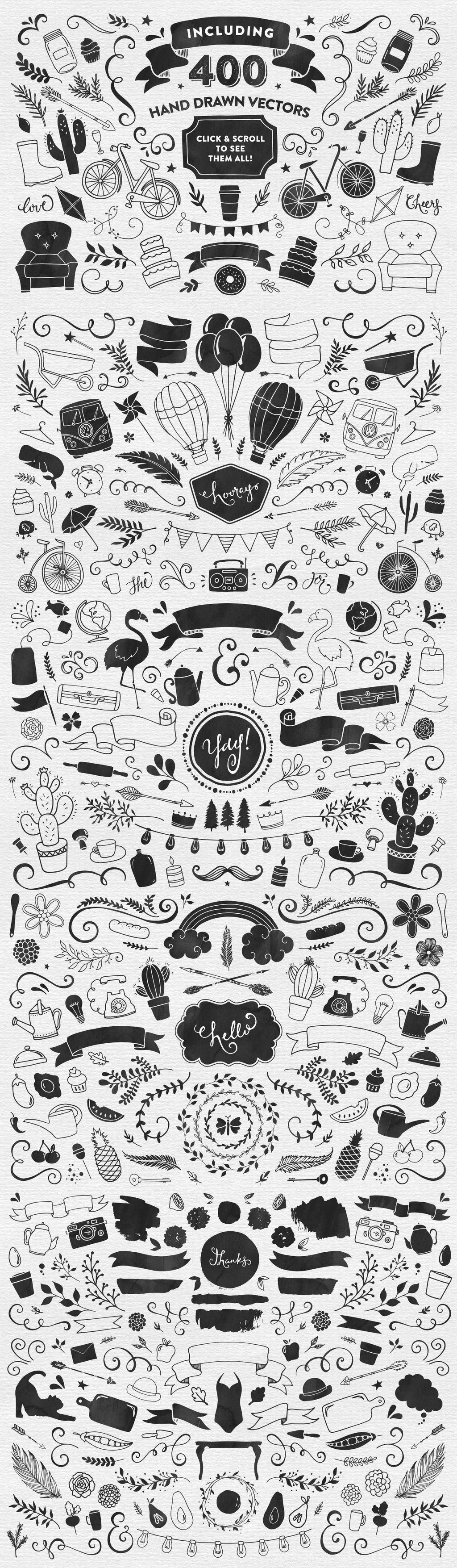 原创设计400款日常手绘素材