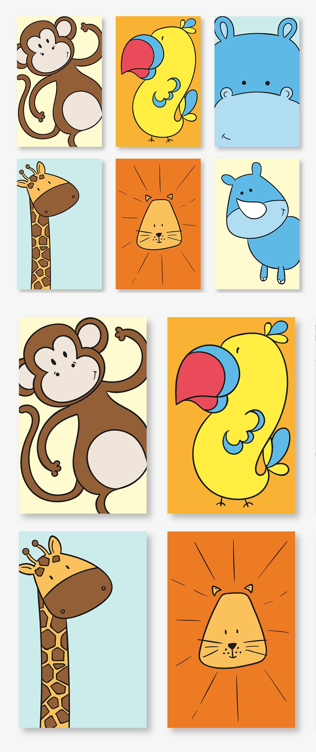 多款彩绘线描可爱动物卡片矢量素材