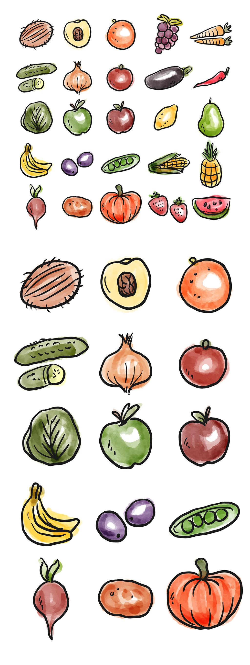 手绘线性水彩水果和蔬菜矢量设计素材
