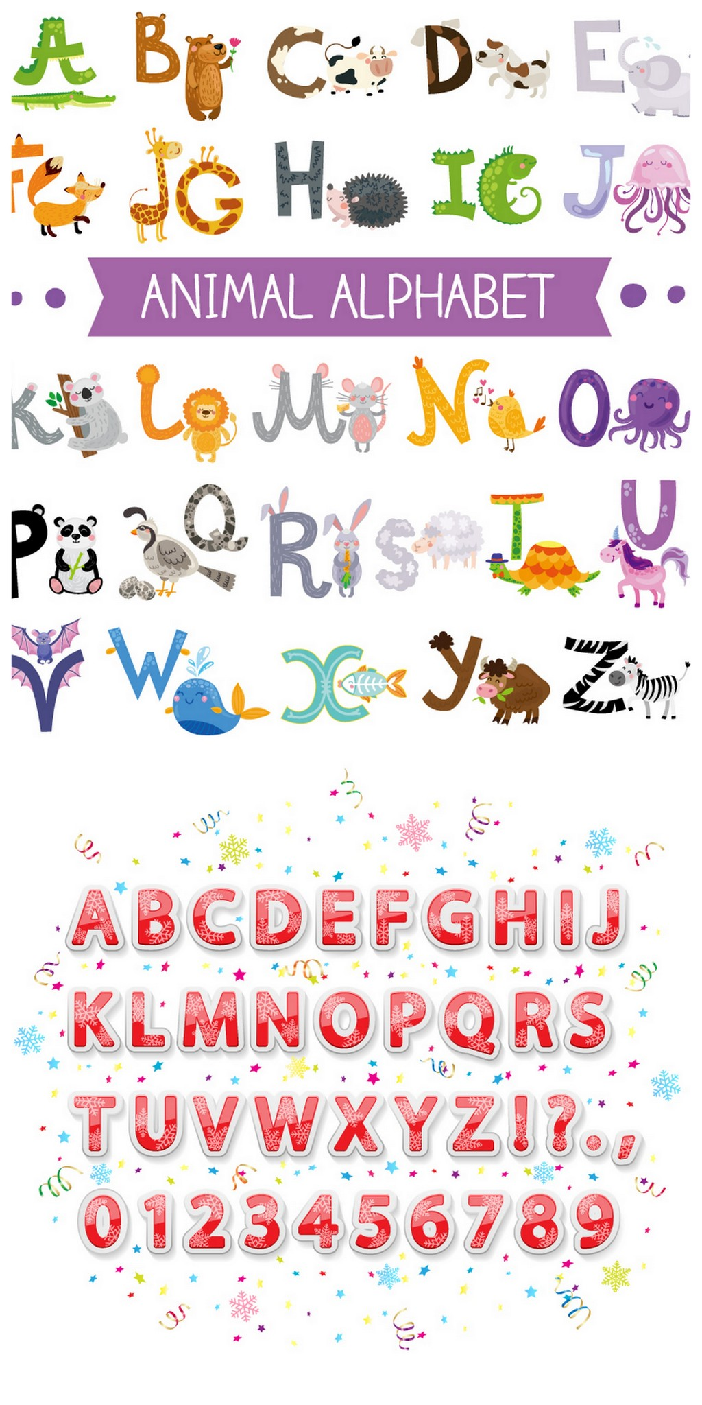 设计元素 字体效果 英文字体 > 卡通字母创意动物字母红色字母数字