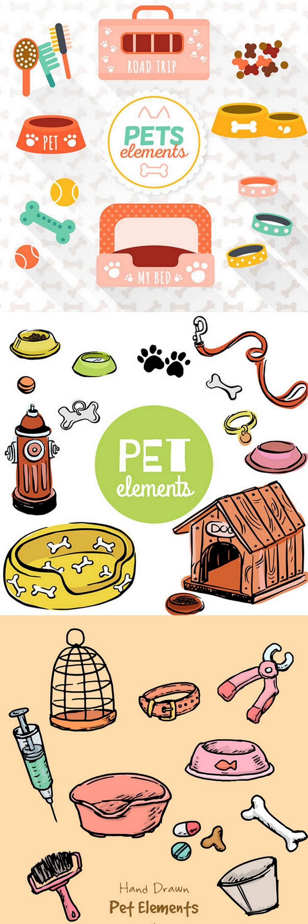 设计元素 自然素材 动物 > 卡通狗彩色宠物用品彩绘宠物用品素材