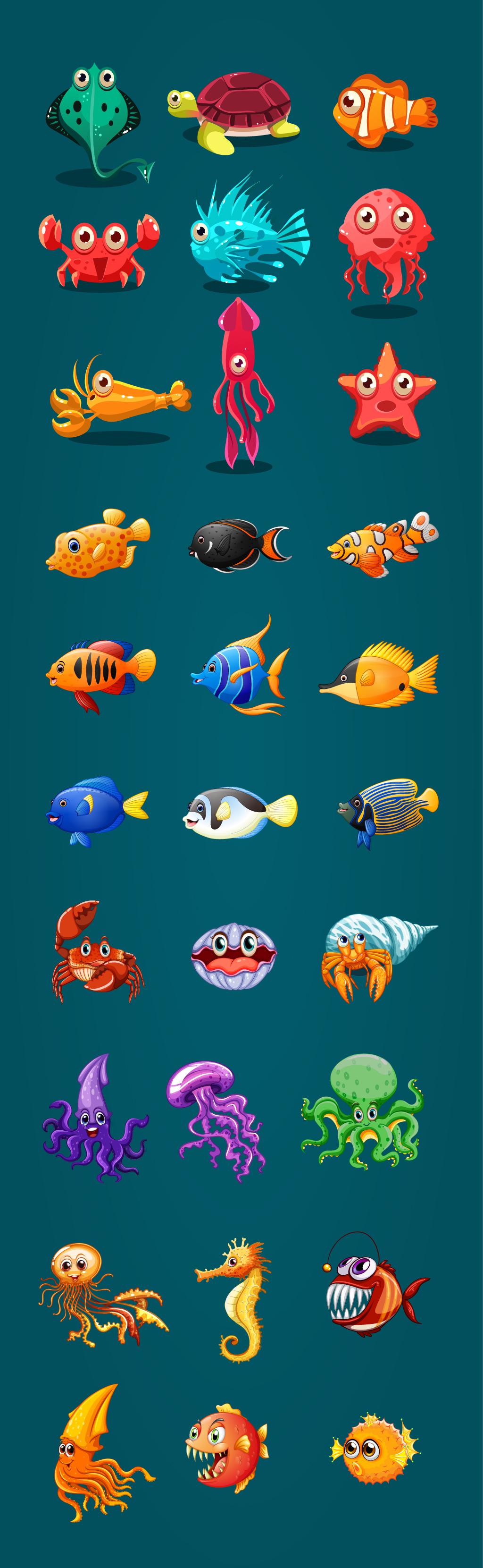海报设计素材海洋动物海马热带鱼螃蟹插图