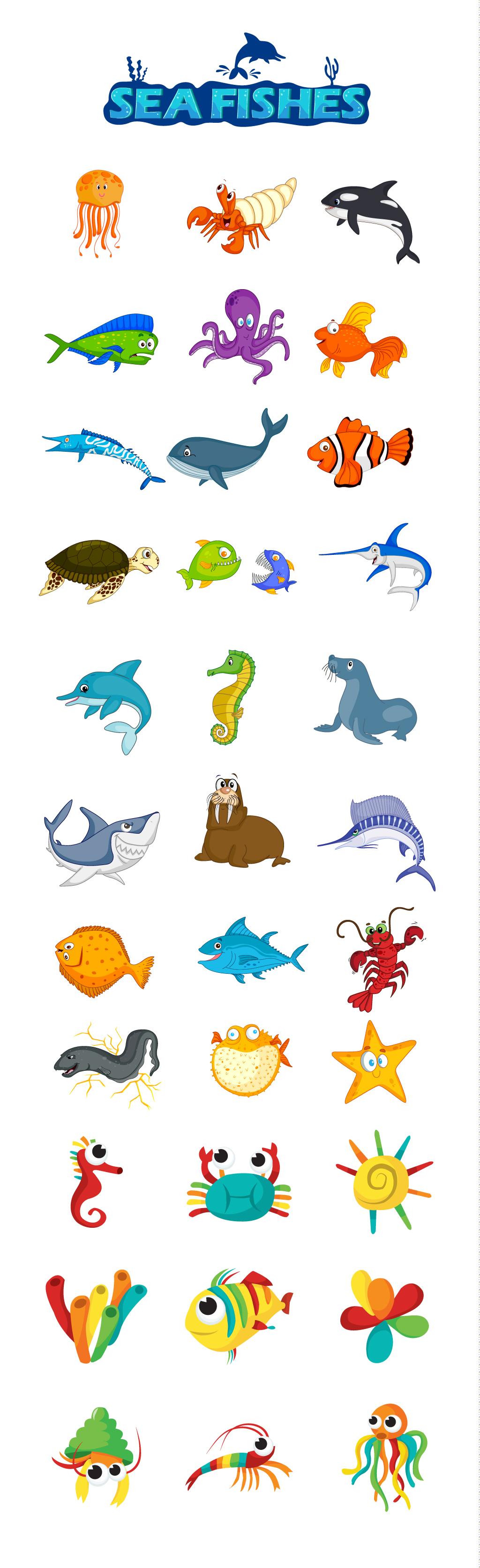 海报设计素材海星海洋动物海马热带鱼螃蟹