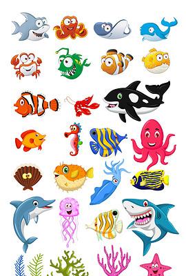 海报设计素材海星海洋动物海马热电鳗鱼