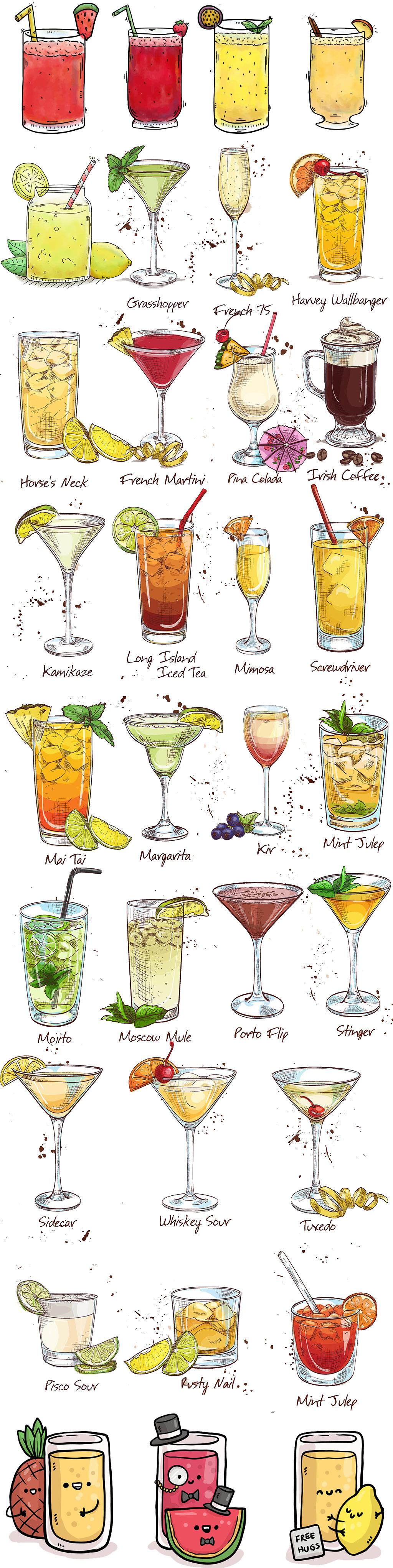 手绘卡通冷饮奶茶饮料海报背景素材酒水饮料