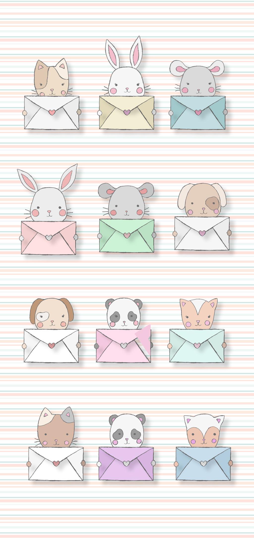 q版造型耗子手绘插画信封小动物兔子猫图片素材_q版小
