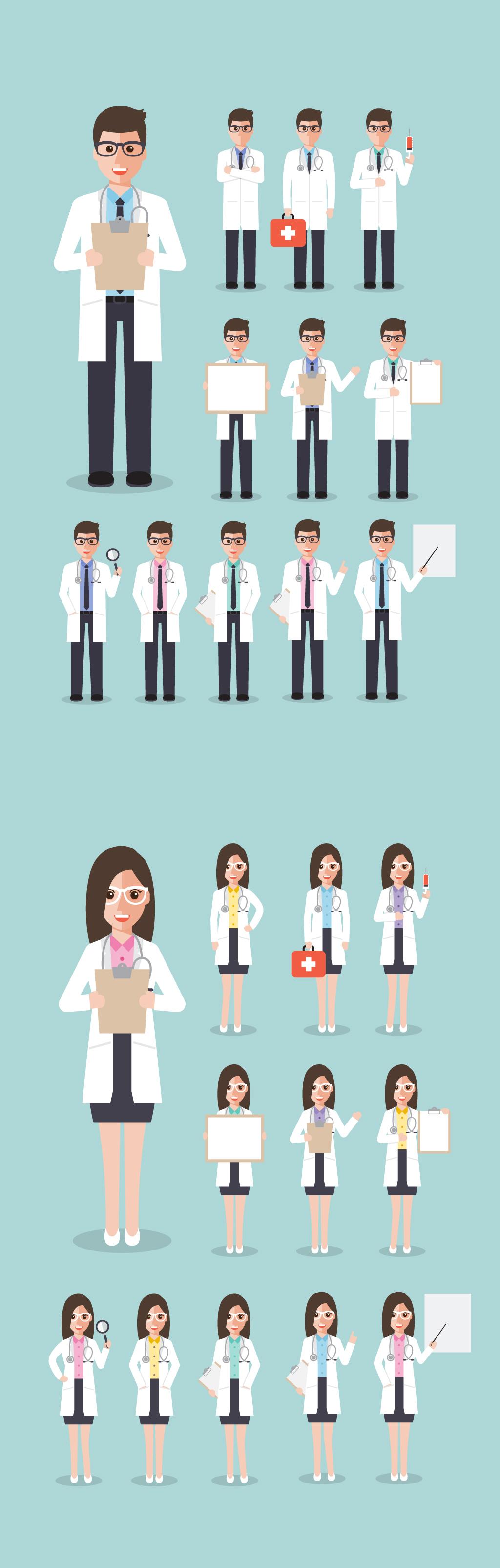 医院场景海报素材动漫人物医疗各种造型医生