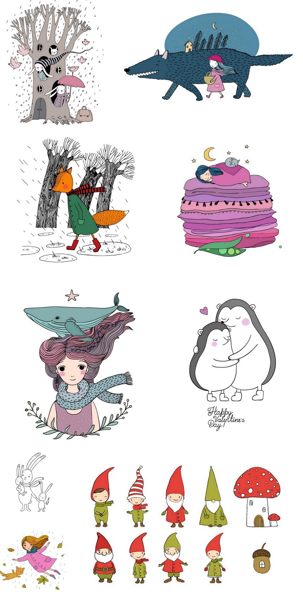 手绘卡通插画小女孩刺猬兔子圣诞小人素材