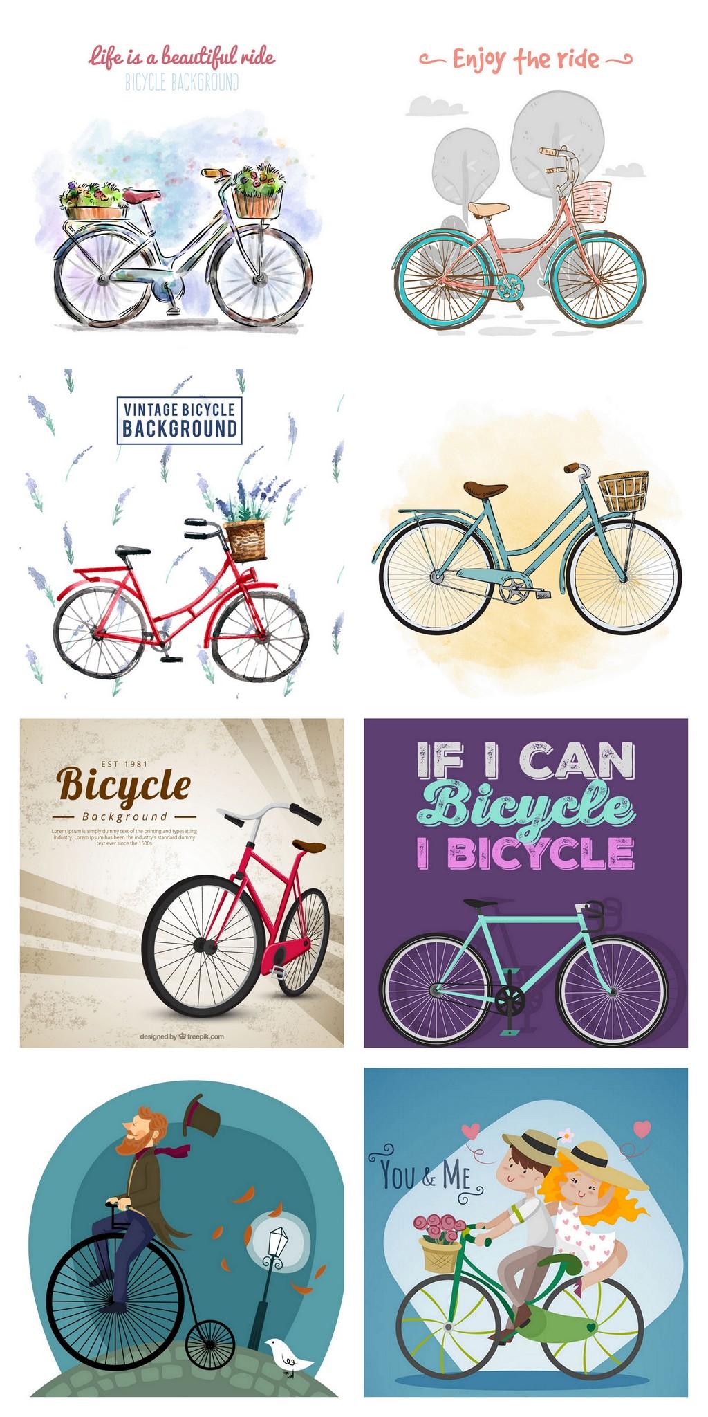 水彩绘卡通自行车单车情侣郊外骑单车图片设计素材 高清AI模板下载 图片