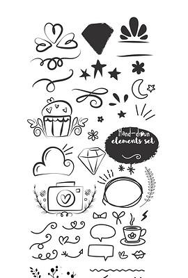 简笔背景元素海报花边图标手绘插画展板素材-展板花边 展板花边设计