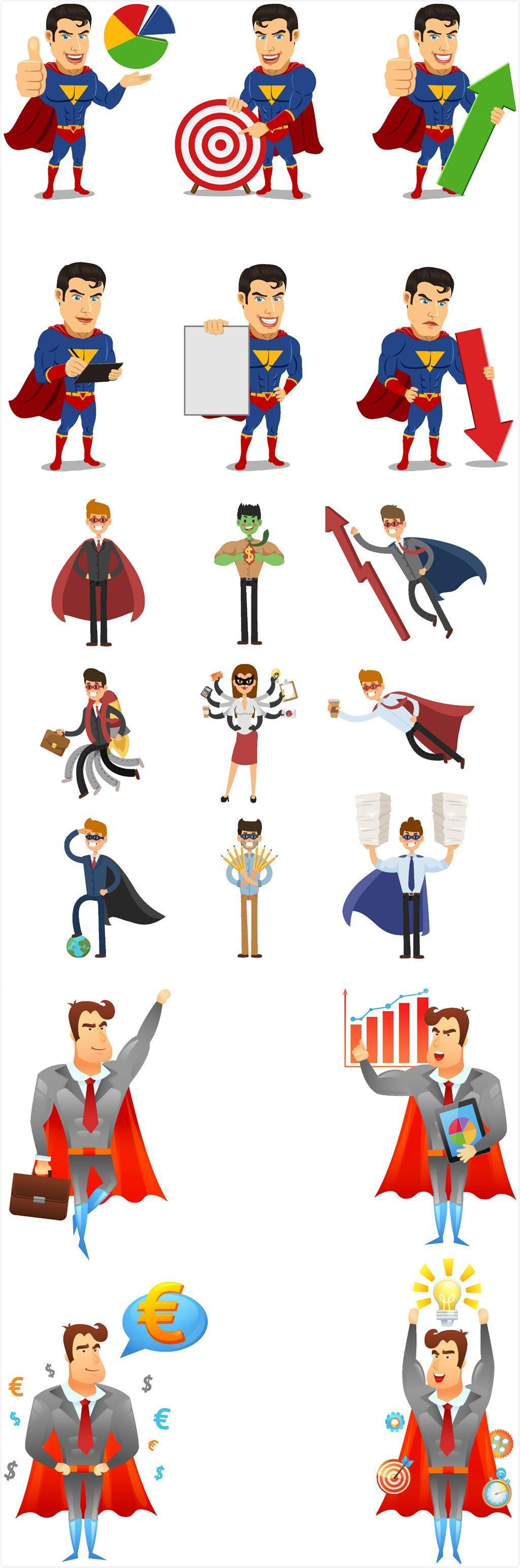 原创设计手绘卡通超人形象