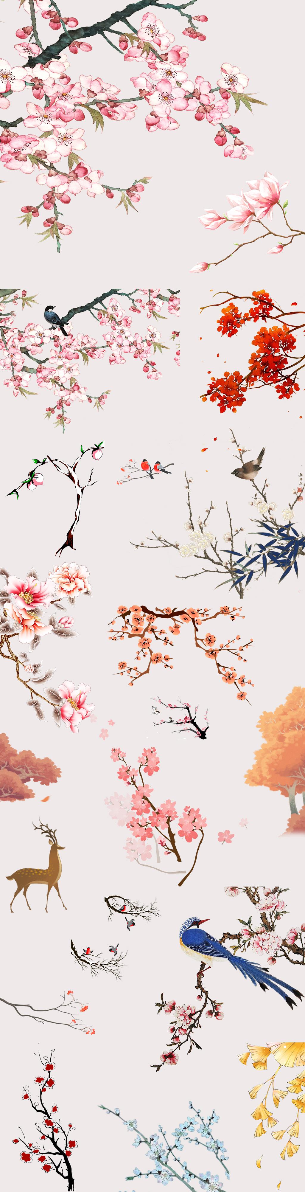 中国风手绘花鸟植物素材png集合图片设计素材_高清psd