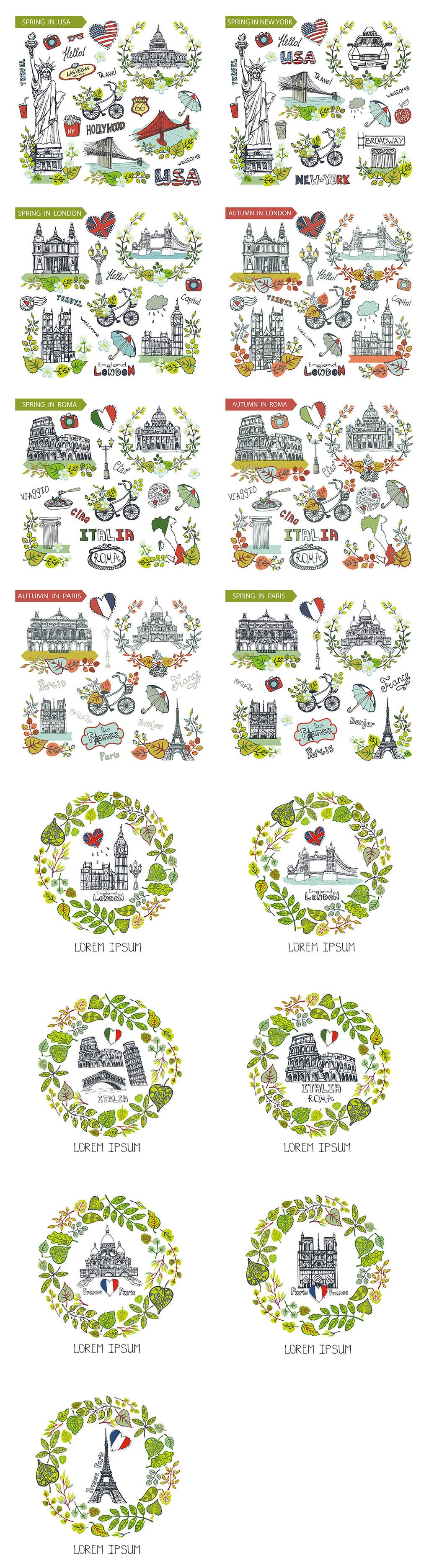各国城市地标手绘素材图片设计_高清ai模板下载(98.31