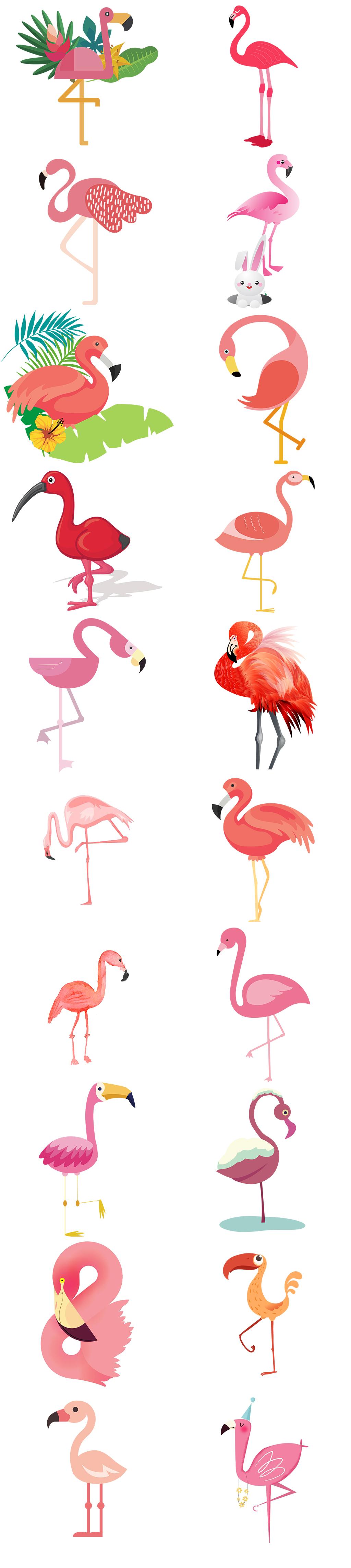 卡通手绘火烈鸟图片免抠png透明素材