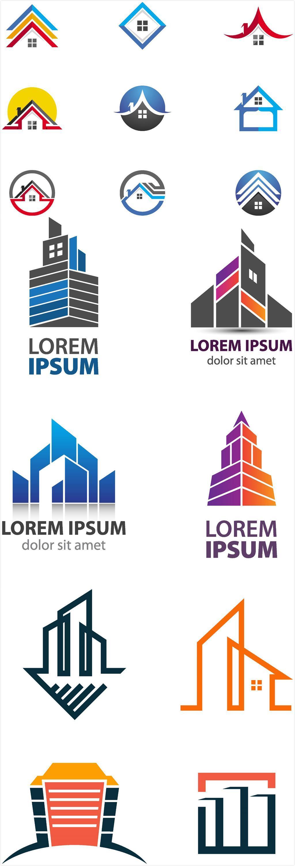 设计元素 标志丨符号 图标 > 手绘房屋高楼标志logo