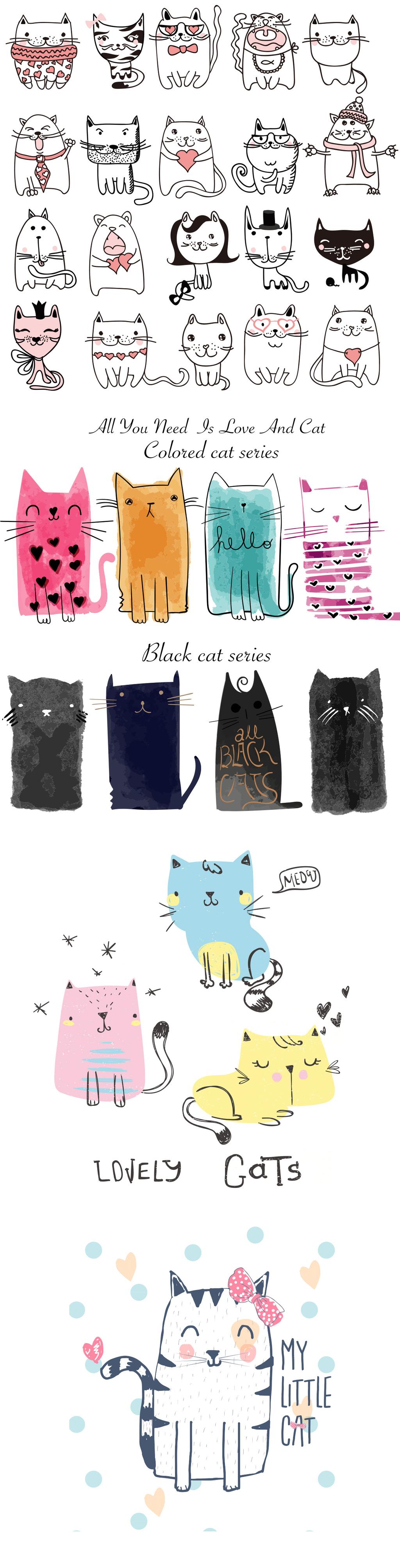 设计元素 自然素材 动物 > 手绘插画线描水彩小猫猫咪矢量素材   图片