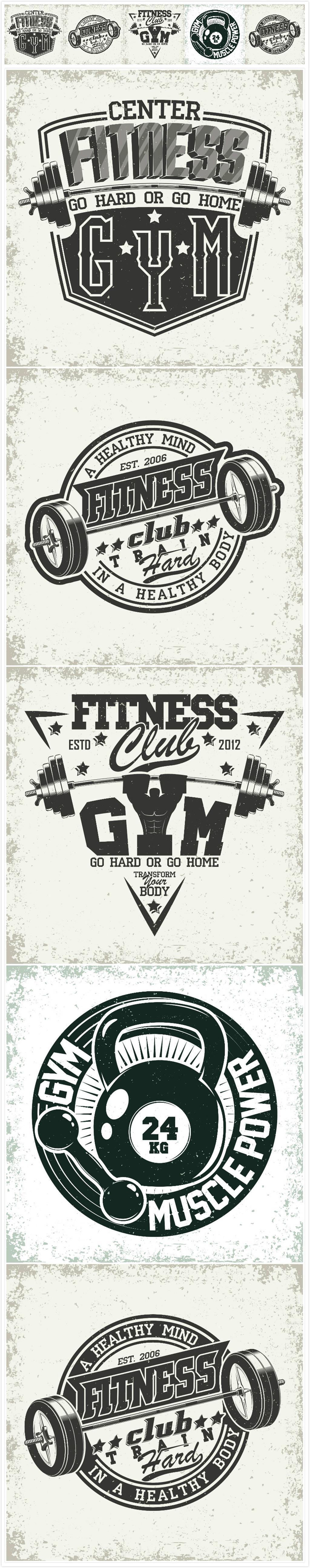 手绘健身房logo健身标志