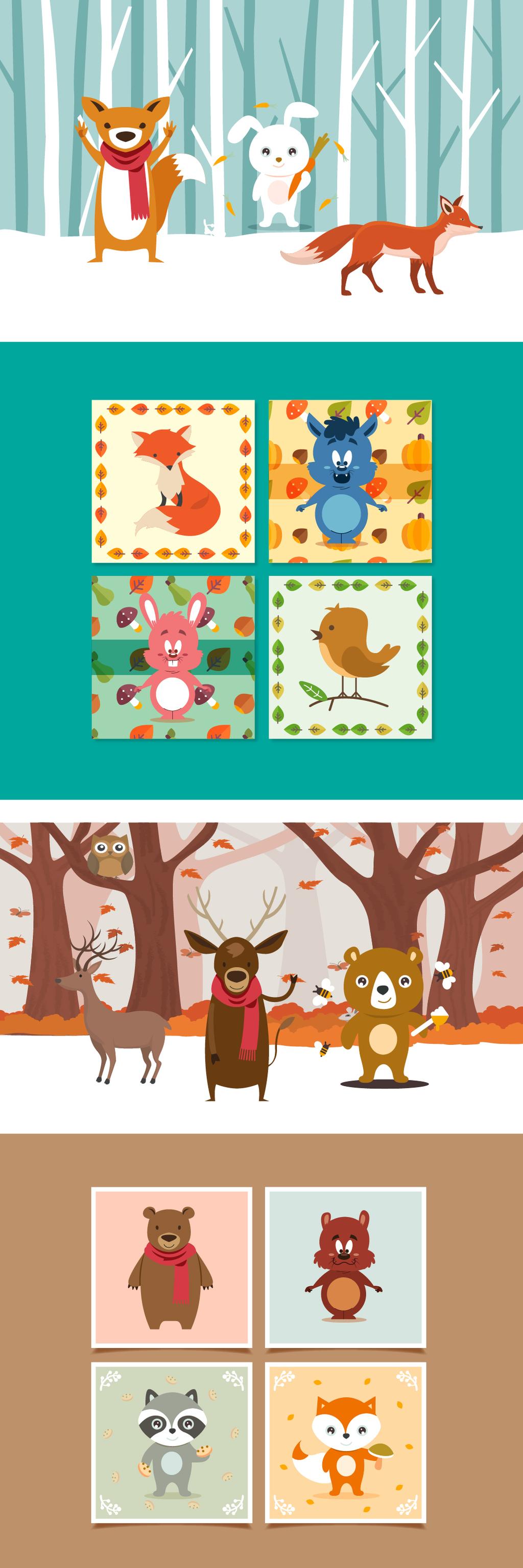 q版小动物卡通图案插图