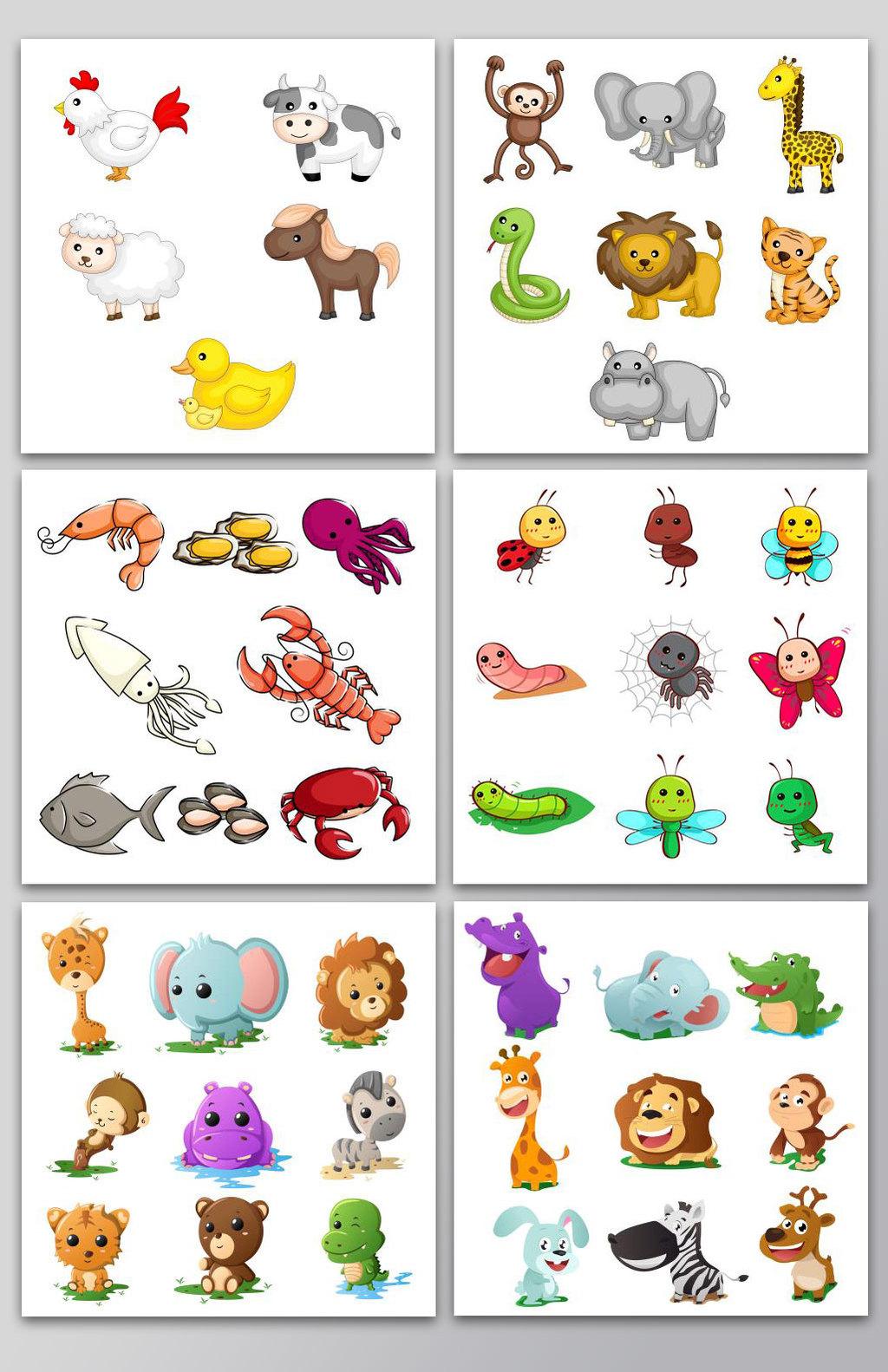 多款手绘卡通小动物图片设计素材_高清ai模板下载(2.