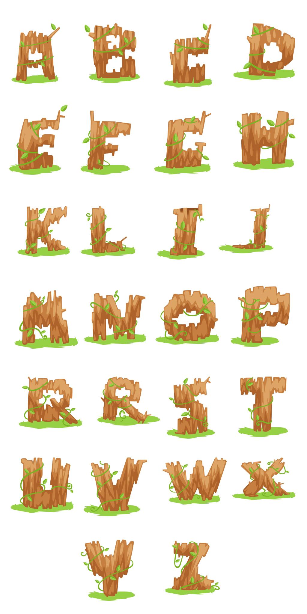 矢量可爱卡通木头英文字体设计