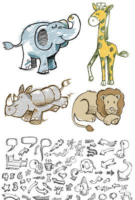 7手绘涂鸦可爱卡通动物铅笔画矢量素材-铅笔画图片素材 铅笔画图片