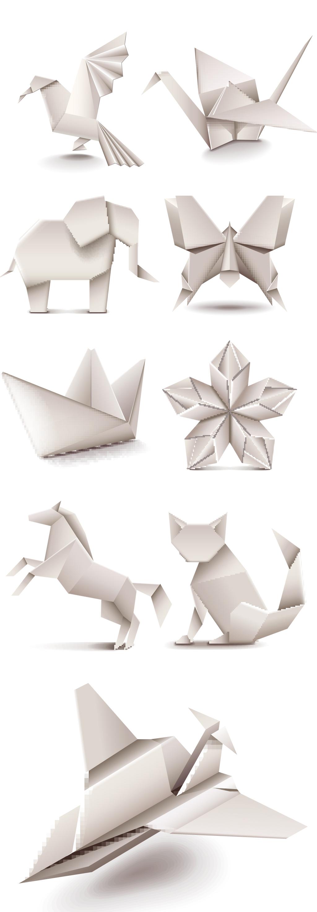 纸张折叠纸折纸折叠千纸鹤动物折纸卡通动物